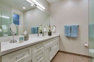 Silestone bathroom white countertop by The Countertop Company