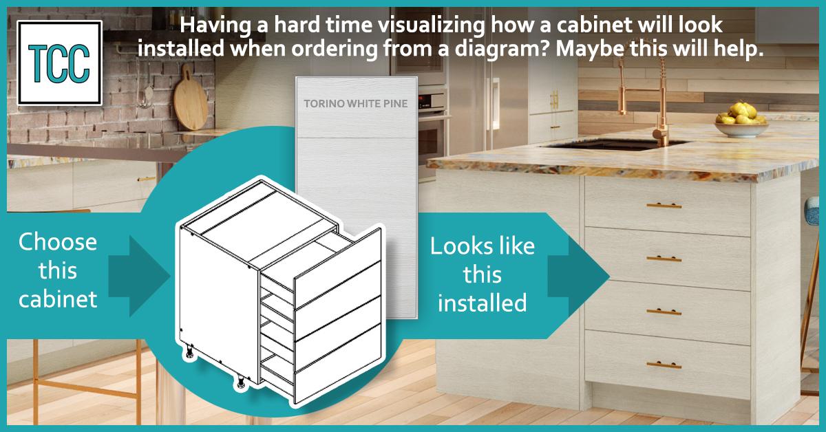 Torino White Pine 4-drawer frameless cabinet installed