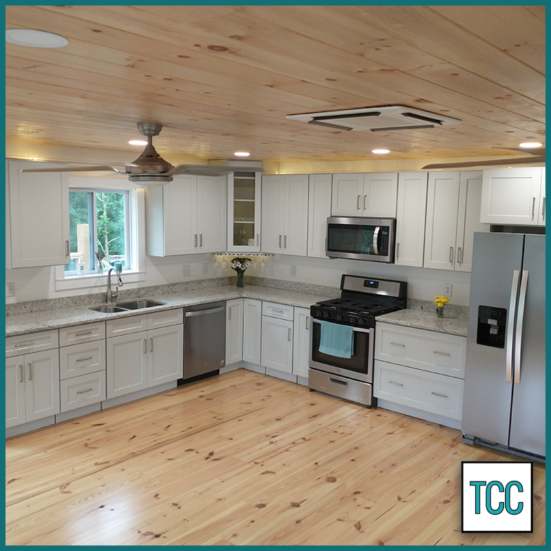 Shaker Dove ready-to-assemble (RTA) cabinets installed in kitchen